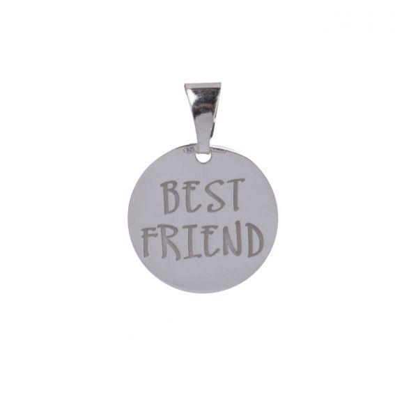 Pendentif Médaille Best Friend en argent 925 - Pendentifs en Argent