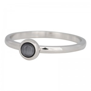 iXXXi - Solitaire silver gray natural stone - Size 20