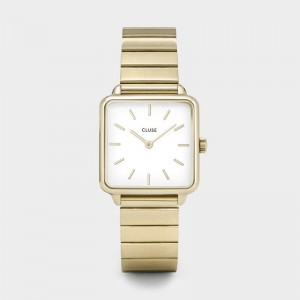 CLUSE - Montre CL60023S - La Tétragone Single Link Gold/White