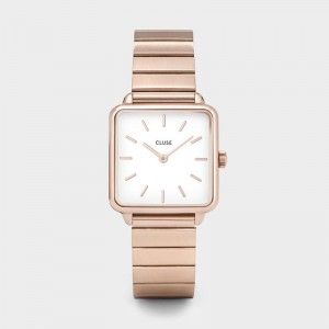 Cluse - The Tetragon Single Link Rose Gold / White