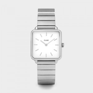 CLUSE - Montre CL60022S - La Tétragone Single Link Silver/White