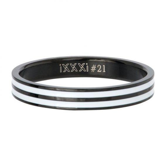 Anneau couvrant iXXXi Double line noir - Bijoux de marque iXXXi
