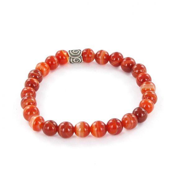 Bracelet Göshö [Enthousiasme] Agate rouge rayé - Pierres naturelles