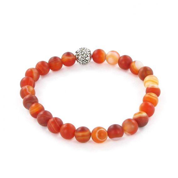 Bracelet Göshö [Enthousiasme] Agate rouge rayé mate - Pierres naturelles