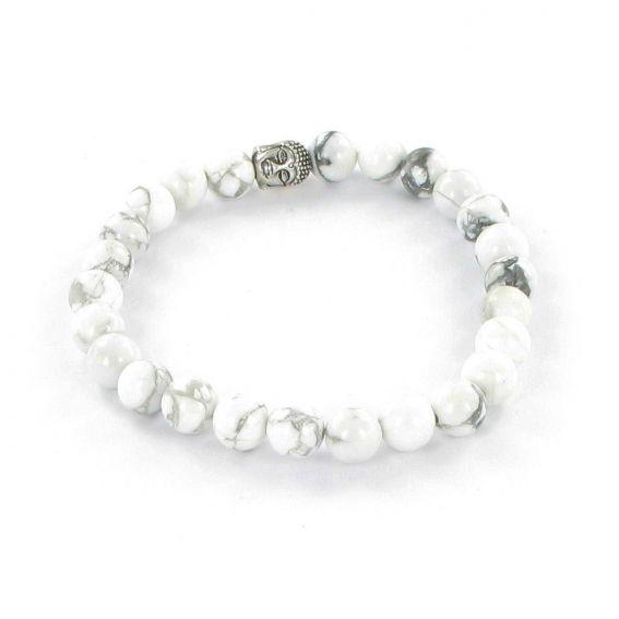 Bracelet Göshö [Minceur] Howolite blanc mate - Pierres naturelles