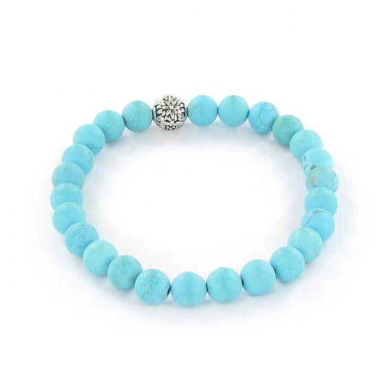 Bracelet Göshö [Minceur] Howolite turquoise mate - Pierres naturelles
