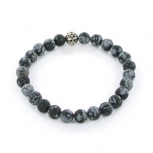 Göshö - [Stomach] speckled matt Obsidian - Bracelet Gosho