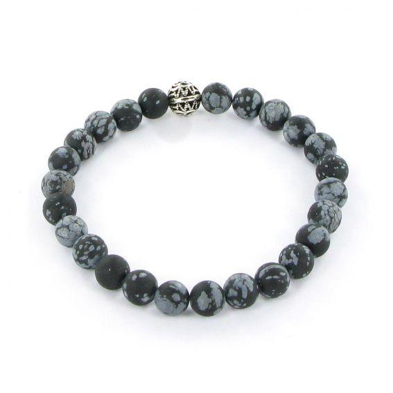 Bracelet Göshö [Estomac] Obsidienne mouchetée mate - Pierres naturelles