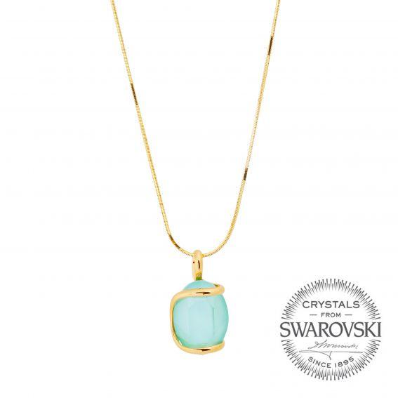 Collier Andrea Marazzini - Bijou ovale cristal Swarovski menthe