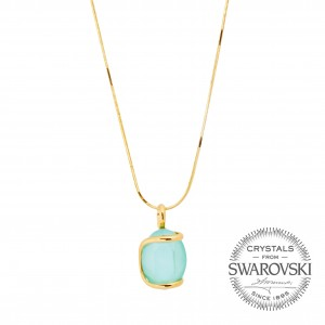 Marazzini - oval Swarovski mint crystal necklace