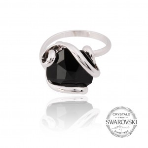 Marazzini - black crystal ring Swarovski
