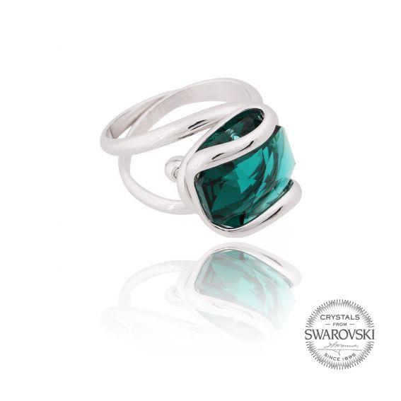 Marazzini - Swarovski crystal ring silver emerald