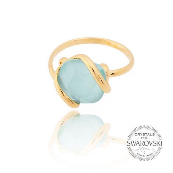 Marazzini - oval ring crystal Swarovski mint