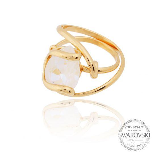 Andrea Marazzini bijoux - Bague cristal ovale Swarovski blanc delite