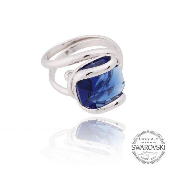Marazzini - Swarovski silver dark blue ring