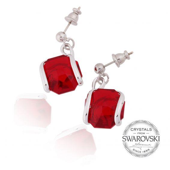 Boucles d'oreille cristal Swarovski rouge siam