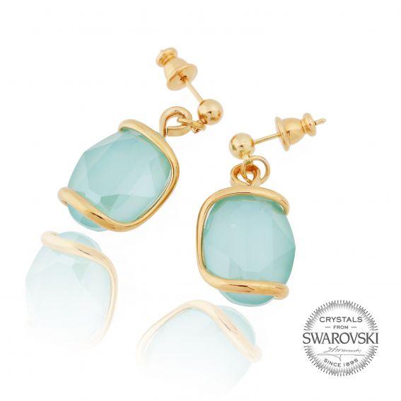 Boucles d'oreille cristal Swarovski menthe