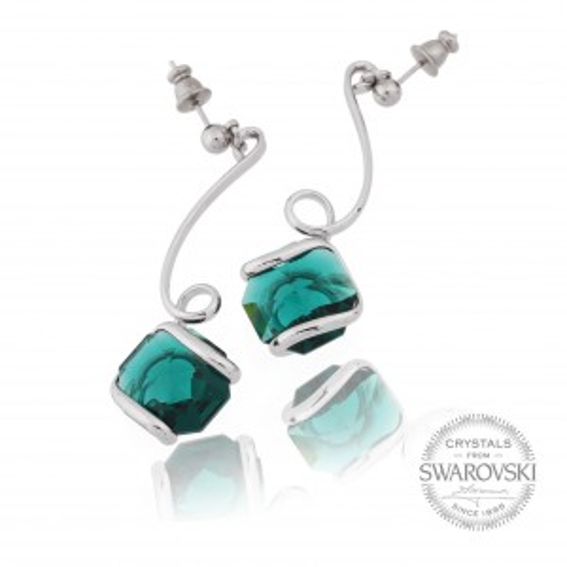 Boucles d'oreille cristal Swarovski émeraude