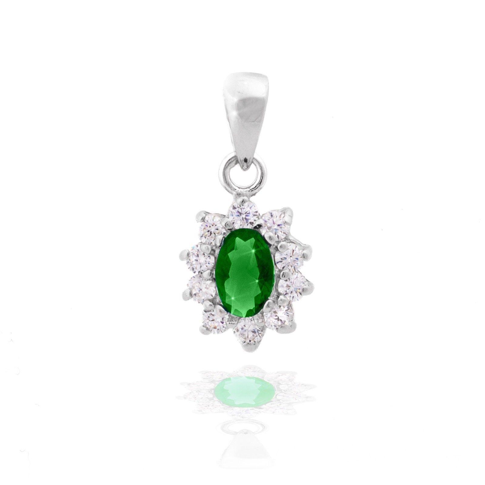 collier argent femme vert