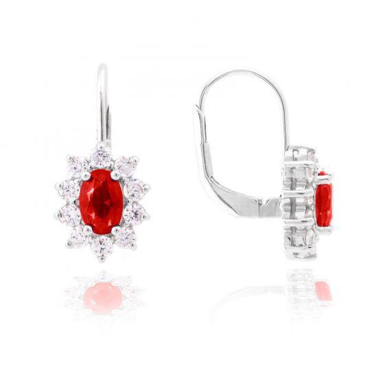 Dormeuses Diana rouge rubis - Bijoux en argent - Boucles d'oreilles