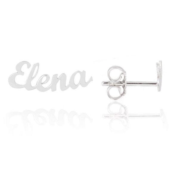 Boucles d'oreilles prénom en argent - Perceuse personnalisable