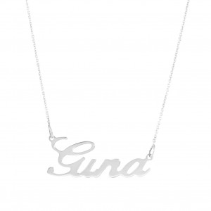 Name necklace in 18 carat white gold