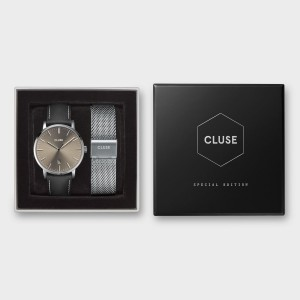 Pack CLUSE Noël 2019 Homme - Aravis Silver, Warm Grey/Black - Montre