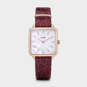 Montre CLUSE CW0101207029 - La Tétragone white Peral / Red Alligator