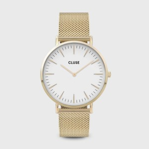Watch CLUSE - La bohème Mesh rose gold / white
