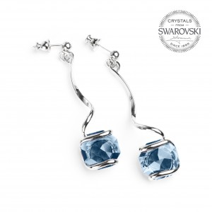DENIM blue Swarovski crystal earrings