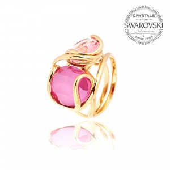 Andrea Marazzini bijoux - Bague cristal Swarovski ovale doré double