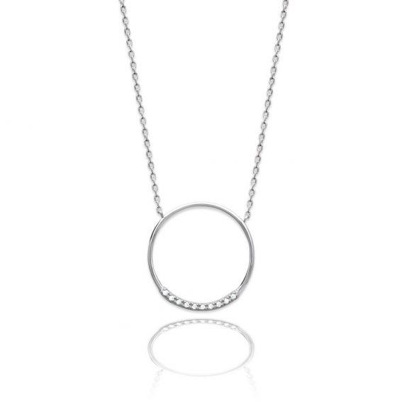 Collier cercle & rail de pierres - Bijoux en argent - Collier rond