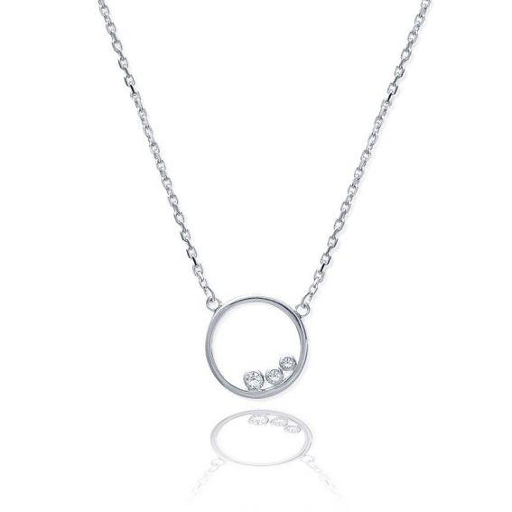 Collier cercle 3 pierres - Bijoux en argent - Collier rond