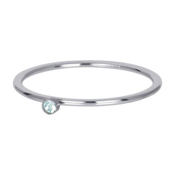 Solitaire argenté 1mm pierre verte - Bijoux & bague de la marque iXXXi