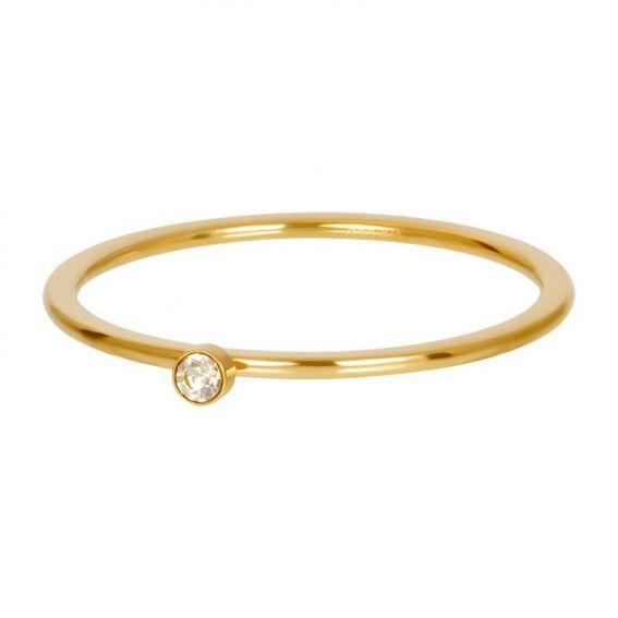 Solitaire doré 1mm pierre blond - Bijoux & bague de la marque iXXXi