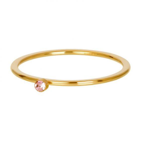 Solitaire doré 1mm pierre rose - Bijoux & bague de la marque iXXXi