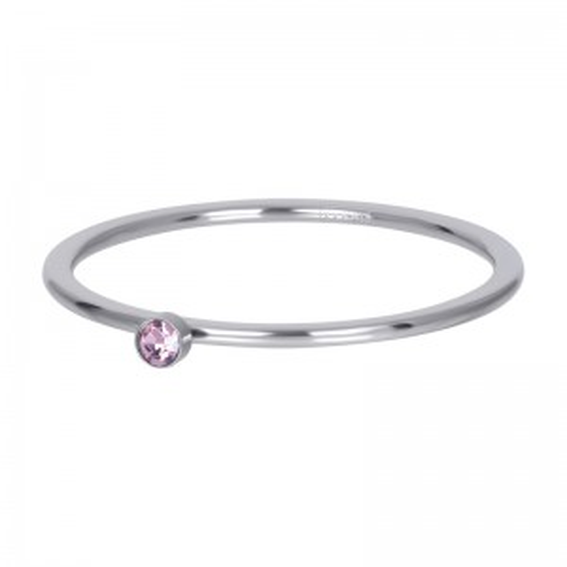 Solitaire argenté 1mm pierre rose - Bijoux & bague de la marque iXXXi
