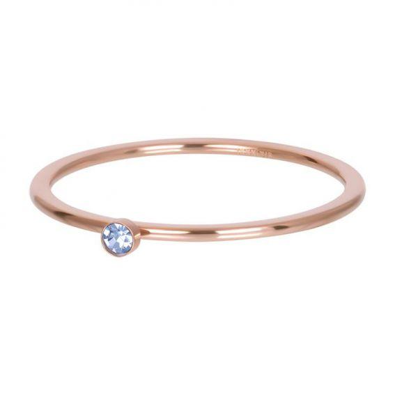 Solitaire rosé 1mm pierre bleu - Bijoux & bague de la marque iXXXi