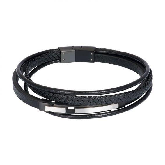 Bracelet iXXXi en cuir pour homme Ryan noir - Marque iXXXi