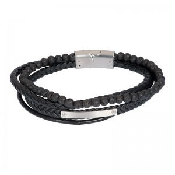 Bracelet iXXXi en cuir pour homme Dexter argenté - Marque iXXXi