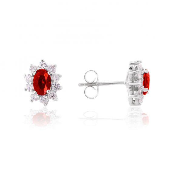 Perceuses Diana rouge rubis - Bijoux en argent - Boucles d'oreilles