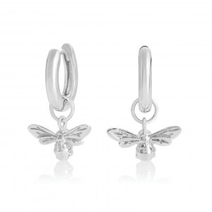 Silver Lucky Bee Hoops