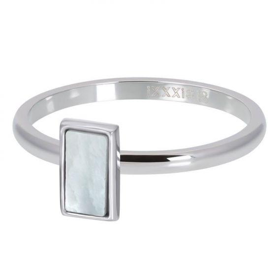 Silver square shell stone