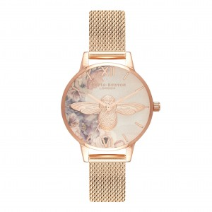 gray and pink gold watch
