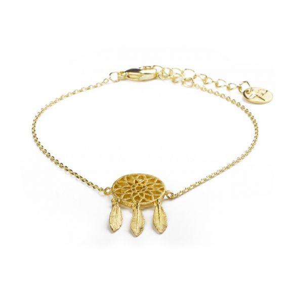 Bracelet 7bis attrape rêve (dreamcatcher) doré