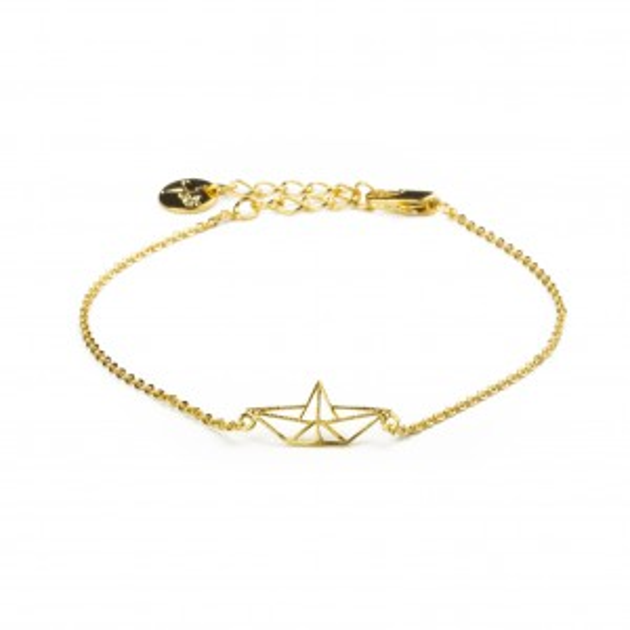 Bracelet 7bis bateau origami doré