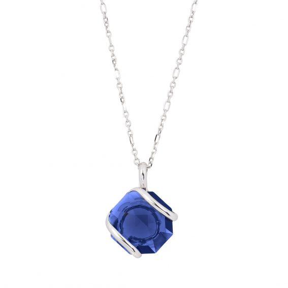 mini Swarovski crystal necklace dark blue