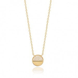 Half stone golden pastille necklace