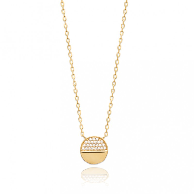Sparkling Gold Circle Necklace
