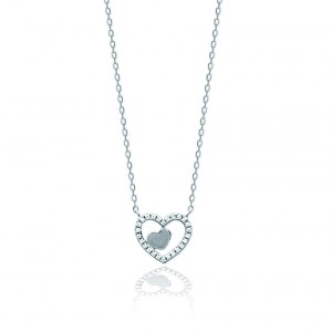 Heart encrusted stone necklace
